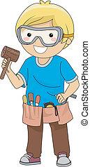 jongen, houten gravure