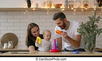 jongen, houten, spel, ouders, baby, spelend