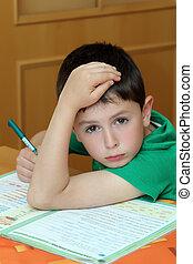 jongen, huiswerk