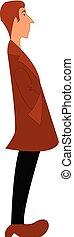 jongen, illustration., bruine , kleur, jas, vector