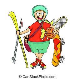jongen, illustration., equipment., lucht., sporten, vector, activiteit, fris, vrolijke