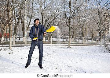 jongen, in, de, sneeuw