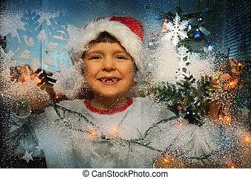 jongen, in, kerstmuts, en, kerstboom, achter, venster
