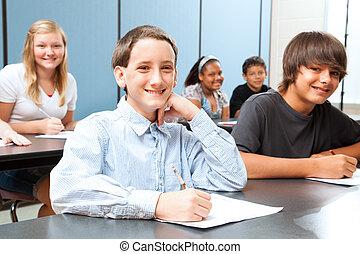 jongen, in, middenschool, stand