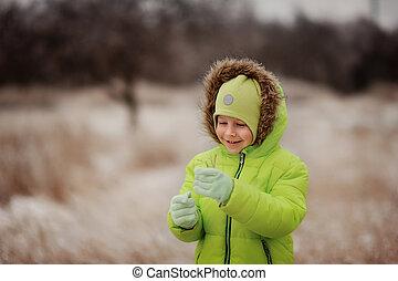 jongen, in, winter