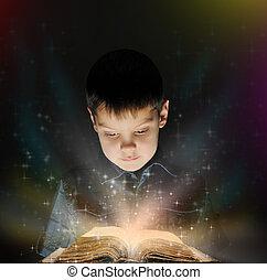 jongen, is, lezende , een, magisch, boek
