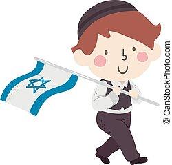 jongen, israël dundoek, illustratie, geitje