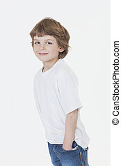 jongen, jeans, jonge, t-shirt, glimlachen gelukkig