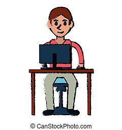 jongen, jonge, computer, ontwerp, bureau, gebruiken, stoel, spotprent