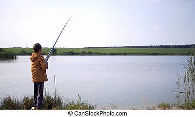 jongen, jonge, visserij, hebben vermaak, vijver