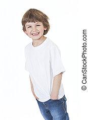 jongen, jonge, zakken, handen, glimlachen gelukkig