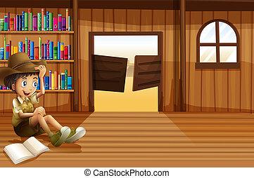 jongen, kamer, binnen, jonge, swingdoor, lezende