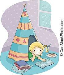 jongen, kamer, het regenen, lezen, boek, geitje