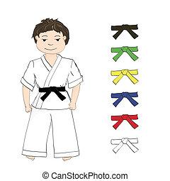 jongen, karate, en, gekleurde, riemen