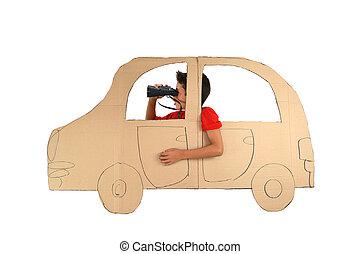 jongen, karton, auto