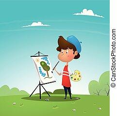 jongen, kat, schilderij, canvas., kunstenaar