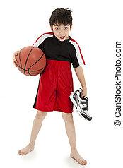 jongen kind, basketbal, nerd, spelend
