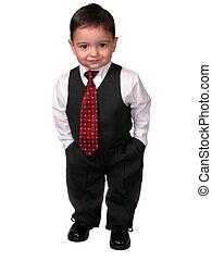 jongen kind, kostuum, vastknopen