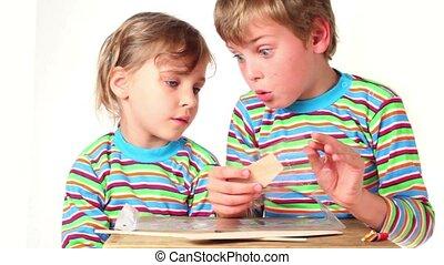 jongen, kinderen, uitgepakte, twee, schaaf, deel, model, ...