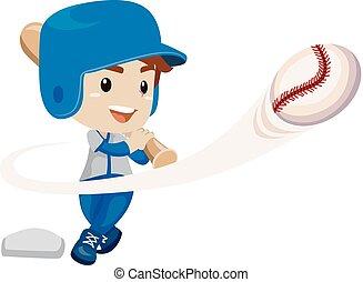 jongen, klappen, bal speler, honkbal, geitje