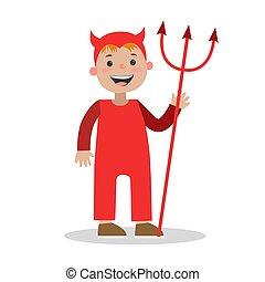 jongen, kleine duivel, halloween, illustratie, kostuum