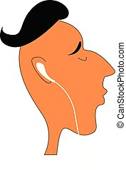 jongen, kleur, headphones, illustratie, vector, of