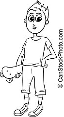 jongen, kleuren, skateboard, pagina