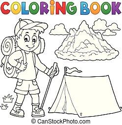 jongen, kleuren, wandelaar, topic, boek, 1