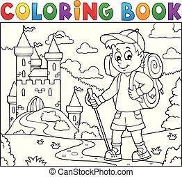 jongen, kleuren, wandelaar, topic, boek, 2