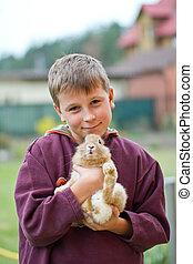 jongen, konijn, vrolijke