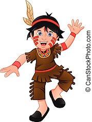 jongen, kostuum, amerikaan indiaas, vervelend