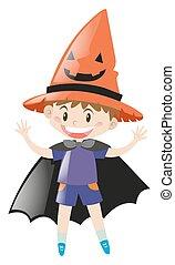 jongen, kostuum, halloween, op, geklede