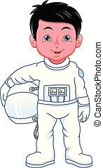 jongen, kostuum, weinig; niet zo(veel), spotprent, ruimtevaarder, vervelend