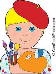 jongen, kunstenaar, kind
