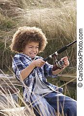 jongen, kust, jonge, visserij