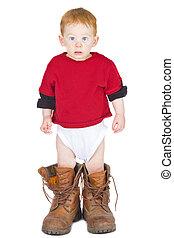 jongen, laarzen