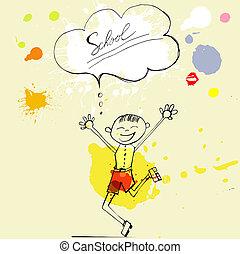 jongen, lachen, illustratie