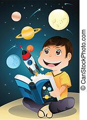 jongen lees, boek, astronomie