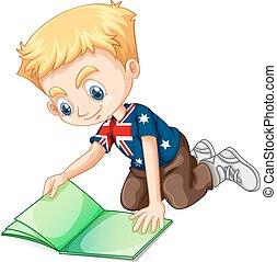 jongen lees, boek, brits