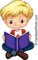 jongen lees, boek, canadees