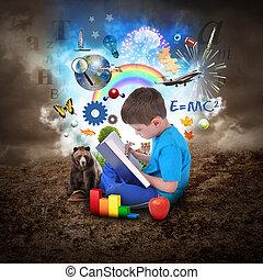 jongen lees, boek, met, opleiding, voorwerpen