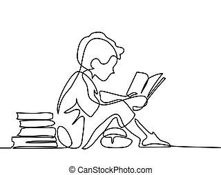 jongen lees, boek, studing