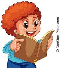 jongen lees, boek