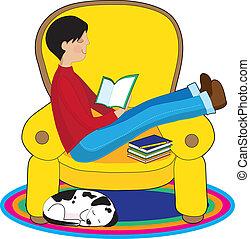 jongen lees, dog