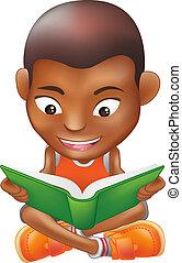 jongen lees, een, boek