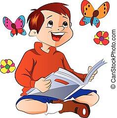 jongen lees, een, boek, illustratie
