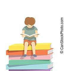 jongen lees, een, boek, op, een, menigte van boeekt, witte achtergrond, illustratie, vector., (blank, book)