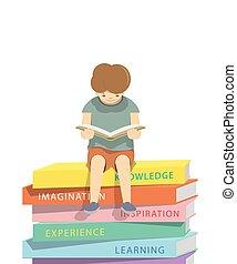 jongen lees, een, boek, op, een, menigte van boeekt, witte achtergrond, illustratie, vector.