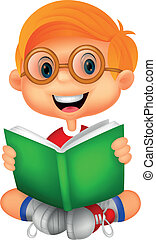 jongen lees, jonge, boek, spotprent
