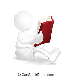 jongen lees, jonge, boek